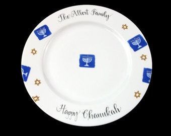 Personalized Judaica Chanukah Plate