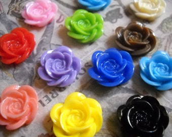 Resin Flower Cabochons-18mm-Opaque-50pcs-Wholesale Flower Cabochons Assorted Colors
