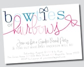 Gender Reveal Party // Bowties or Hairbows Invitation