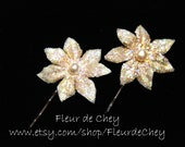 Two Glittered Mini Champagne Poinsettias with Pearl Center on Bobby Pins- Handmade Floral Headpiece