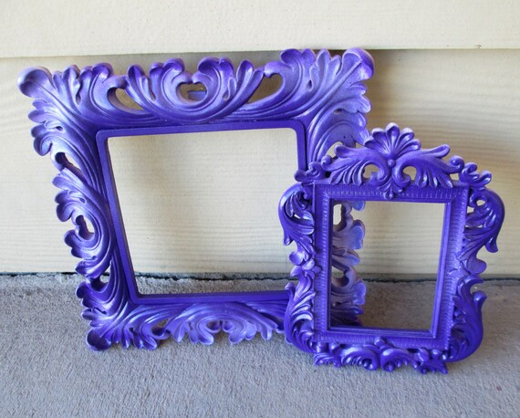 Set of UpCycled Ornate Open//Empty Picture Frames in Purple//Lillac