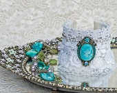 Turquoise Cuff Bracelet, Lace Jewelry, Victorian bracelet, Shabby Chic Bracelet, Victorian Jewelry