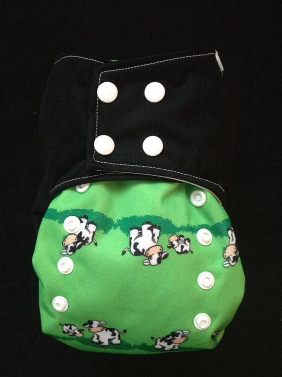 One-Size Cloth Diaper Cover: Cute Cows Print and Solid Black