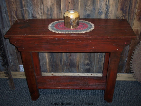 Country Style Heavy Distressed Barn Red Side Table By IADECOR