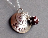 MSU - Mississippi State University Hail State inspired Hand Stamped Necklace - College Jewelry - High School Jewelry - Graduation Gift