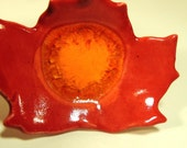 Maple Leaf Ceramic Spoon Rest, Fused Glass Ceramic Ring Dish, Red and Orange Spoon Rest - JSBArts
