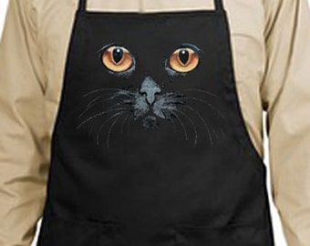 Black Cat Yellow Eyes New Apron, Kitchen,  Cooks, Bartenders, Parties