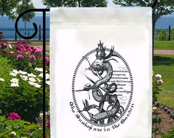 Gothic Snakes In The Garden New Small Garden Flag, Cool Tattoo Art