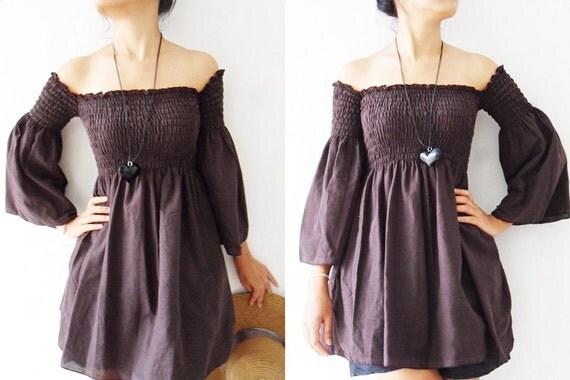 Women Blouse/ Women Top /Sexy....Lady  Brown cotton shirt