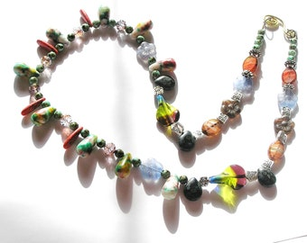 "Funky, Unusual, OOAK Beaded Necklace w 'Tie Dyed' Quartz Tear Drops, Dyed Red Quartz, Czech Glass- 26"" necklace"