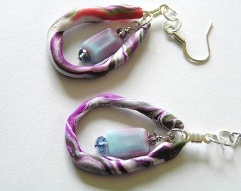 Funky Polymer Clay Hoop Style Earrings w Raspberry Purple, Blue Glass Beads