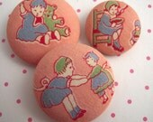 Vintage Children Playing Fabric Covered Buttons Pinks 1940s