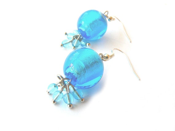 Sky blue earrings handmade with sky blue glass beads. ooak made in Italy