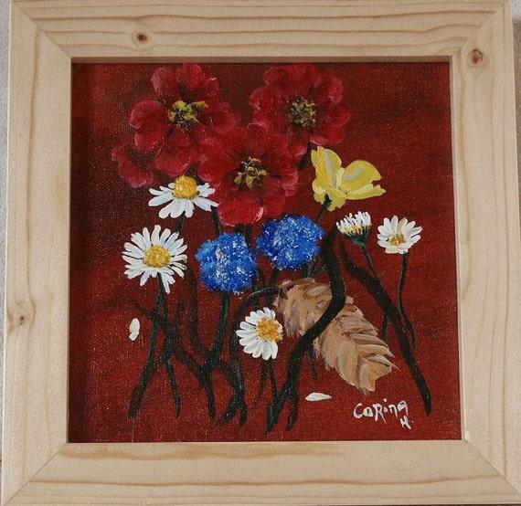 Original Irish FRAMED Acrylic Painting by Artist CORINA HOGAN - Daisies