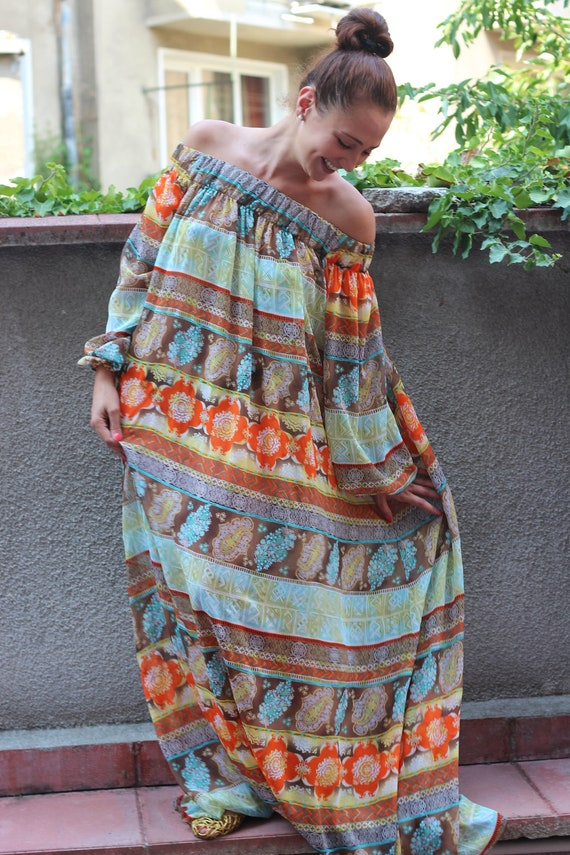 "RESERVED FOR MONIKA Multicolored with golden threads caftan long chiffon dress ""Autumn lights"""