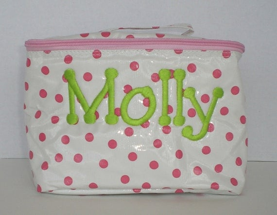 Pink Polka Dot Train / Cosmetic  Case Monogrammed Oilcloth