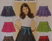 Butterick B4593 Six Sew Fast and Easy UNCUT Pattern for a Girls' Skirt in Sizes 7-8-10