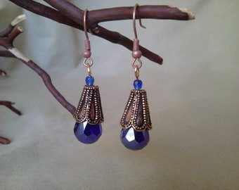 Copper and Indigo Earrings