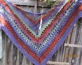 hand knit one of a knid mixed fiber shawl,boho scarf