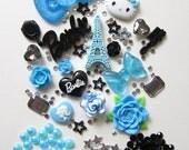 Bling Bling Black and Blue Tower Paris Fashion DIY Phone Deco Set