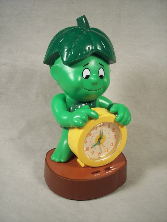 1985 Green Giant Little Sprout Promotional Talking Alarm Clock, Never Used