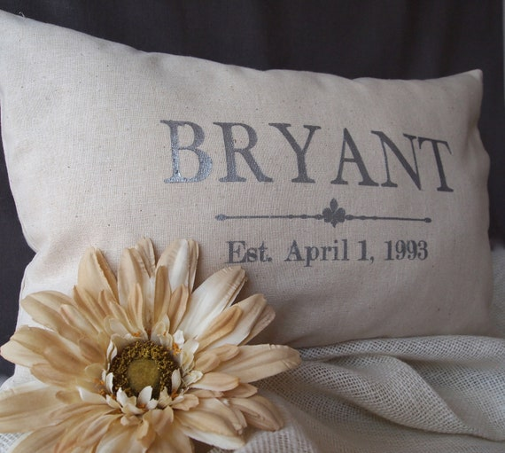 Silver Grain Sack Style Pillow For Wedding By TheBurlapCottage