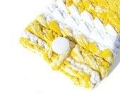 Yellow White Crochet Kindle Case, Protective Kindle Cover, Crochet E-Reader Case