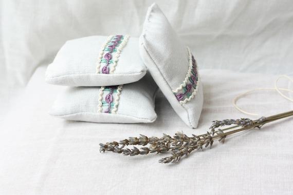 Set of 3 Premium Lavender Mini Sachet Pillows/ Cotton-Linen Gray Sachets, Eco Friendly Gift
