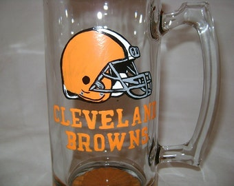Cleveland Browns, Hand Painted, Beer Mug, Personalized