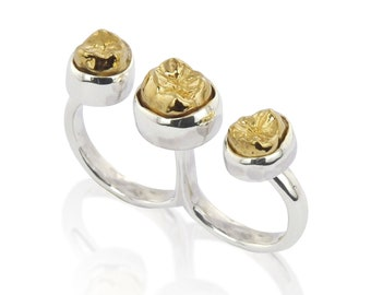 """KNOCKOUT COLLECTION: Adjustable """"Brass Knuckles""""  double finger ring"""