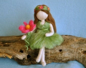 Waldorf inspired needle felted doll: Fairy of the forest