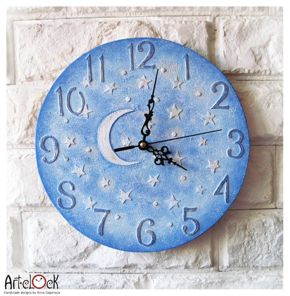 The moon and stars blue wall clock home decor for children baby kid