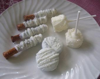Wedding Favors Chocolate Covered Pretzel Rods, Marshmallow Pops,  Oreos Wedding Birthday Baby Shower 1 dozen