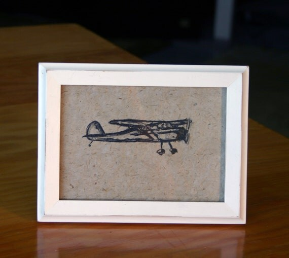 Lithograph of Cessna Airplane on handmade paper, Framed