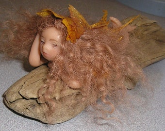 Polymer Clay miniature Angel Fairy ooak, original one of a kind fantasy art doll