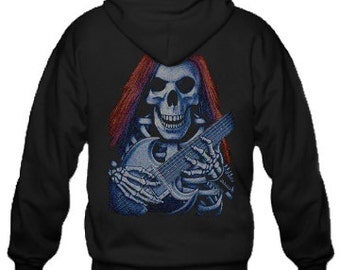 Adult Hoodie / Skeleton & Guitar printed on the back