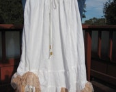 Gypsy Country Bohemian - Hippie White Ruffle Skirt - Layers of Tea Dyed Lace - Wedding Day Romantic and Lovely Back yard Party