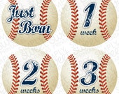 Monthly Baby Onesie DIY Printable Stickers (pdf FILE ONLY) - Boy - Baseball- Sports