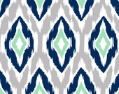 Ikat Fabric by the Yard - Navy, Gray, Mint, and White