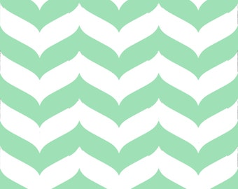Chevron Wave Stripe Fabric by the Yard - Mint and White