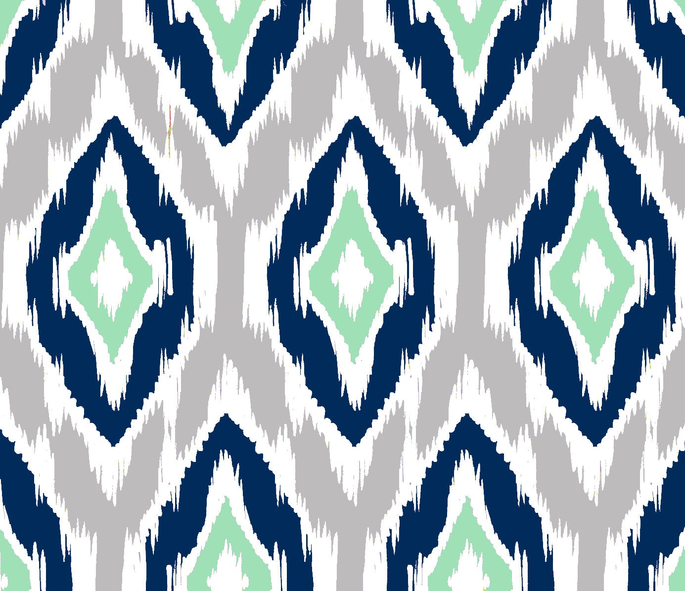 Ikat Fabric by the Yard Navy Gray Mint and White