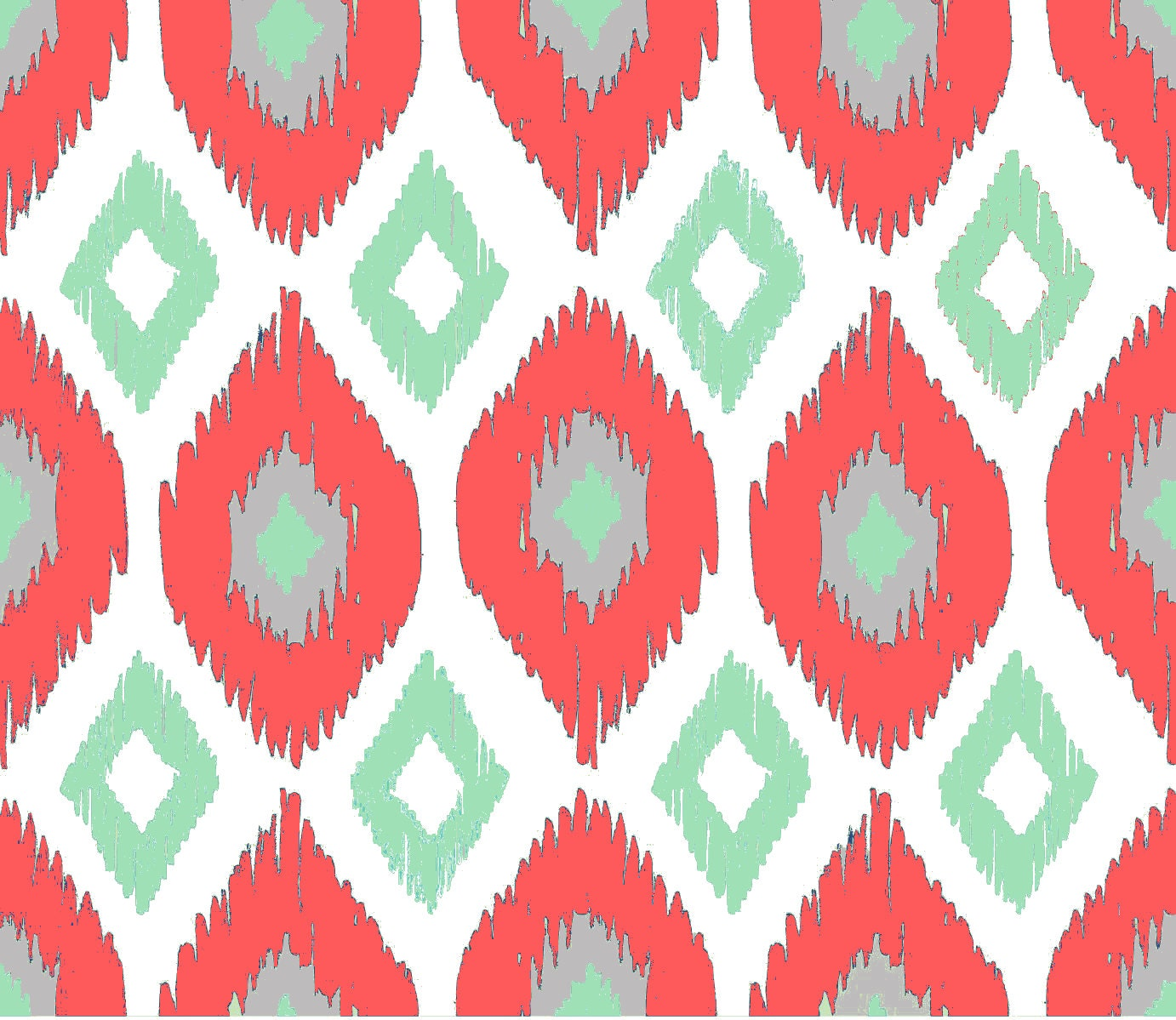 Ikat Fabric By The Yard Coral Mint Gray And White