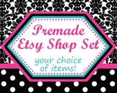 ASSEMBLE YOUR OWN Premade Etsy Banner & Shop Set 37 - Damask, polka dots, dots, black, white, pink, blue, turquoise