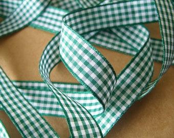Dark Green Gingham Ribbon - 15mm