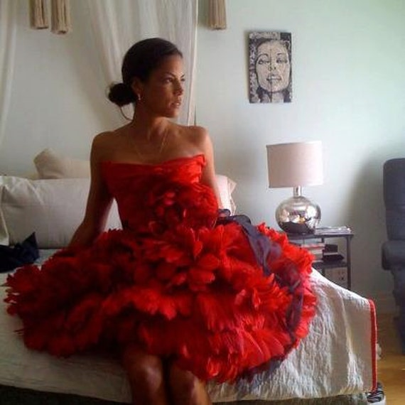 "Irina Shabayeva Red feather ""PEONY"" dress worn by Veronica Webb."