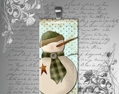 "GLASS domino pendant country snowman holiday christmas winter womens necklace jewelry teen childrens 1"" x 2"""