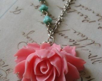 SALE - Pink rose bud garden antiqued brass romantic necklace, flower necklace, garden nature, charm pendant necklace