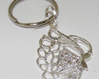 Huge Silver Butterfly Key ring