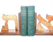 Custom letter bookends Greek or Hebrew letters wood bookends handcrafted wooden book ends