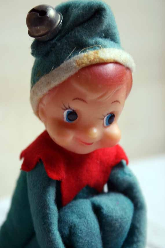 Vintage Christmas Elf Sits On A Shelf By Whatsinstorevintage